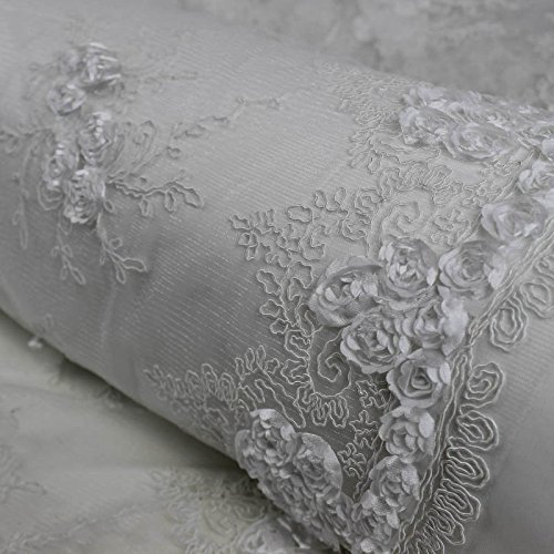 Scallop Double Edge (Corded Lace Fabric with Matte White Floral Embroidery with Double Scallop Edge Wedding)