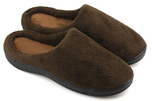 Dasein Men's Slip On Warm Winter Slippers Memory Foam Soft Fleece House Slippers Indoor Outdoor Anti Skid Sole