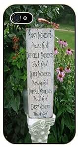 Happy momments praise God, difficult momments seek God - Flower landscape - Bible verse iPhone 5 / 5s black plastic case / Christian Verses