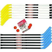 Cosom Junior Hockey Sticks for Floor Hockey and Street Hockey for Kids, Youth Hockey Set, Hockey Equipment for Physical Education, 16 Pieces 12 Plastic Sticks, 2 Pucks, and 2 Balls, 43 Standard Shaft by Cramer
