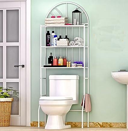 Estantería para baño (3 estantes, más de baño toalla de hierro ahorro de espacio
