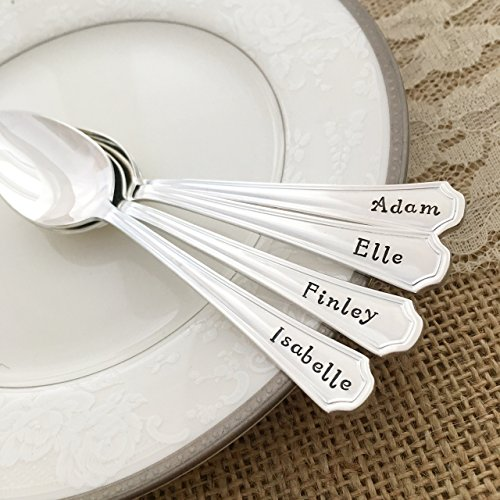 Baby spoon, silver plated, hand stamped Clairhill