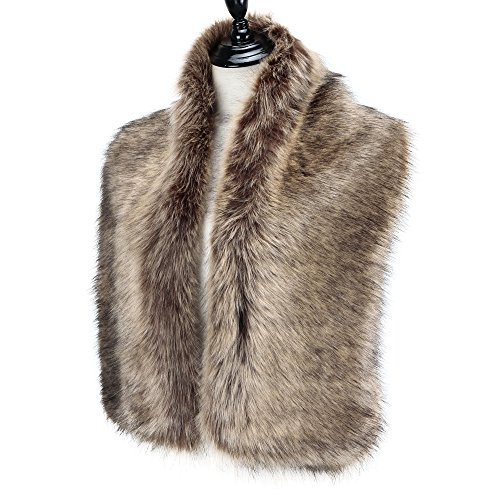 Caracilia Women Winter Scarf Wrap Faux Fur Collar Shawl Shrug Brown 120CA97 by Caracilia (Image #2)