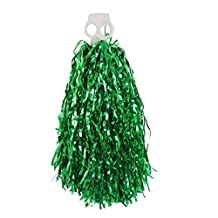 Dual Circle Hole Handle Tinsel Cheerleader Pom Poms Cheer Pompons Green