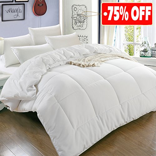 All Season King Goose off replacement Quilted Comforter by using Corner Tabs - Hypoallergenic -Double Plush Fabric -Super Microfiber Fill -Machine Washable - Duvet Insert & Stand-Alone Comforter - White