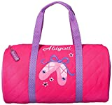 Personalized Stephen Joseph quilted duffel traveling bag embroidered with your name or text (Pink Ballet) For Sale