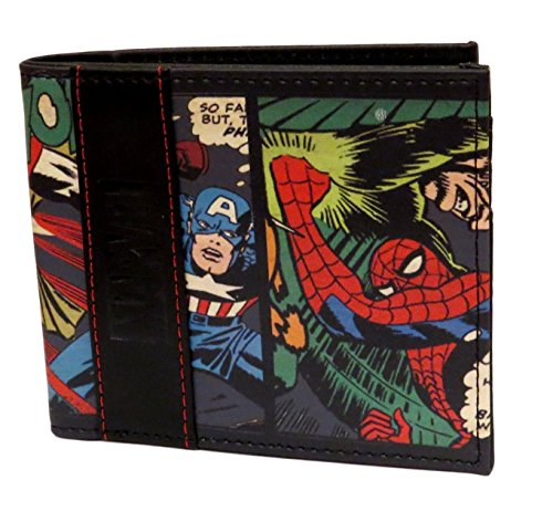 Marvel Comics Character Leather Bifold Wallet with Gift Tin Box (Multi Character)
