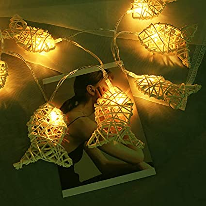 newest a625f bf561 Amazon.com : Wicker Rattan LED Fairy String Lights 3.6 FT 10 ...