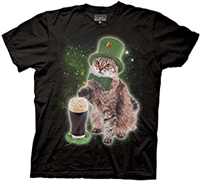 St. Paddy's Beer Cat Adult Sized Black T-shirt