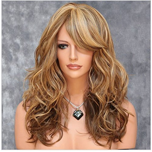 [Imcolorful Sexy big wave Inclined bang wig curly Brown hair Mixed color highlights Fluffy air] (Long Sexy Wigs)