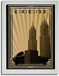 Al Kazim Towers Metro - Sepia With Gold Border F03-m (a3) - Framed