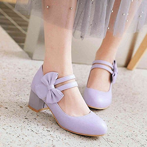 SJJH Marry Jane Shoes with Low Chunky Heel and Bowtie Court Shoes Large Purple IsyIEeP4
