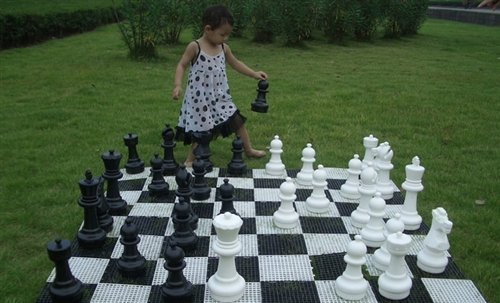 """MegaChess 12 Inch Tall Chess Set and Chess Mat - Black and White - Plastic (King is 12"""" Tall)"""
