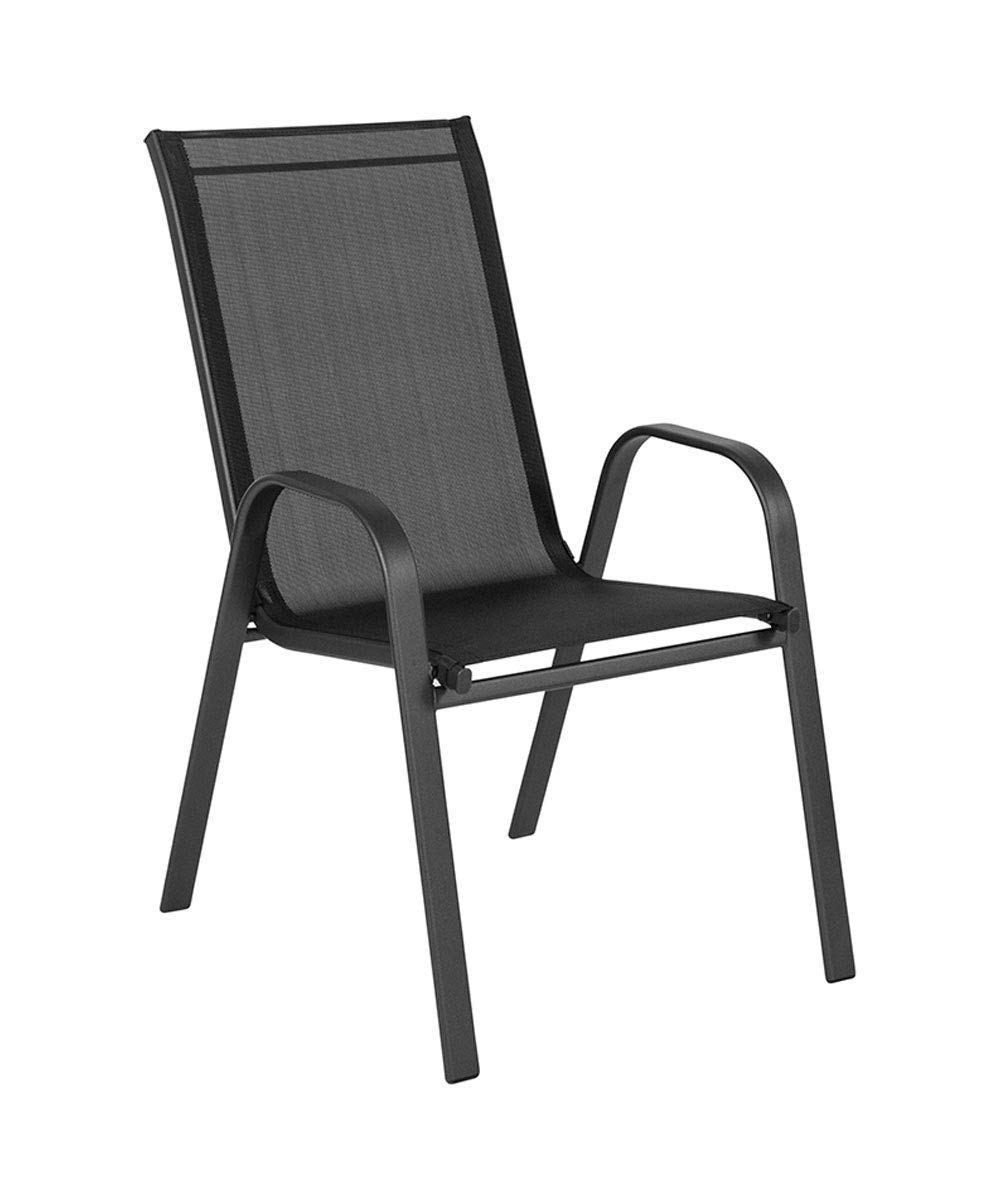 Offex Outdoor Stack Chair with Flex Comfort Material and Metal Frame - Black by Offex