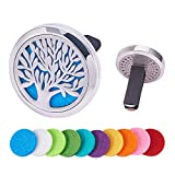 BENECREAT Tree of Life Car Air Freshener Aromatherapy Essential Oil Diffuser Stainless Steel Locket with Vent Clip 10 Washable Felt Pads - Style 4