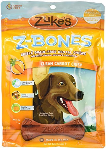 Zuke's Z-Bones Edible Grain-Free Dental Chews,Clean Carrot Crisp, Regular 12-Ounce, 8 Count by Zuke's