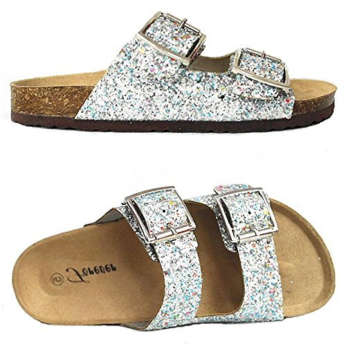 Forever Link SF BIRKEN Womens Glitter Thong Slip On Casual Slide Flip Flop Sandals (6.5, - Sandals Glitter Silver