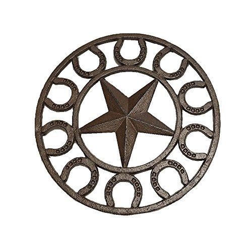 LL Home CAST Iron Star Horseshoe Trivet Decor