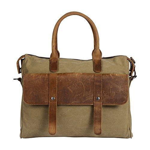 Wonder Youth Vintage Laptop Messenger Bag Briefcase Canvas Leather Crossbody Shoulder Bag - Khaki