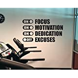 Fitness Wall Decal FOCUS MOTIVATION DEDICATION On Excuses Off Classroom Office Wall Decor Sticker by Ditooms
