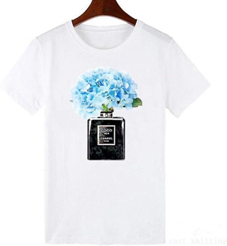 Vogue Style - Camiseta de Manga Corta para Mujer, Color Rojo y Rosa - - Medium: Amazon.es: Ropa y accesorios