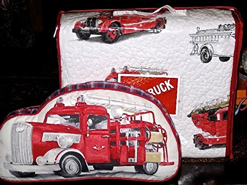 red truck FIRE ENGINES / FIRE TRUCKS 4-pc FULL / QUEEN QUILT SET (set includes matching shams & pillow) pictured on front of bed