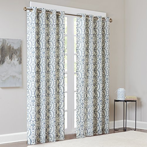 Madison Park Blackout Curtains for Bedroom, Transitional Red Blue Window Curtains for Living Room Family Room, Print Farrah Grommet Room Darkening Black Out Window Curtain, 50X95, 1-Panel Pack