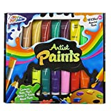 Grafix 18 x Paint Tube Artist Painting Set Neon Pearl Glitter Ready Mixed Paints