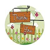 iPrint Polyester Round Tablecloth,Butterfly,Happy Summer Design Thank You Girls Teens Nature Welcome Cartoon Style Image,Multicolor,Dining Room Kitchen Picnic Table Cloth Cover Outdoor Indoor