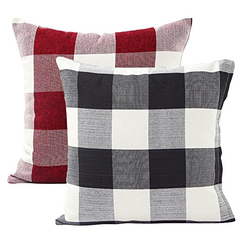 Foozoup Plaids pillows Retro Checkers Farmhouse Tartan Cotton Linen Throw Pillow Case Cushion Cover for Sofa Home Decor Design 18 x 18 Inch, Black and White and Red Pack of 2 ()