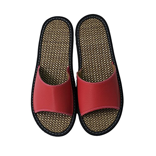 Women Linen Indoor Shoes Slippers Sandals Pink 2 Women Slipper Silent Beach for HRFEER House Men Summer qPHxSw