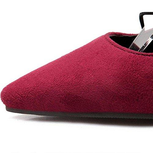 Femmes Automne Fashion Bandage en cuir suédé Véritable Pointu Chaussures à talons hauts , red , 45