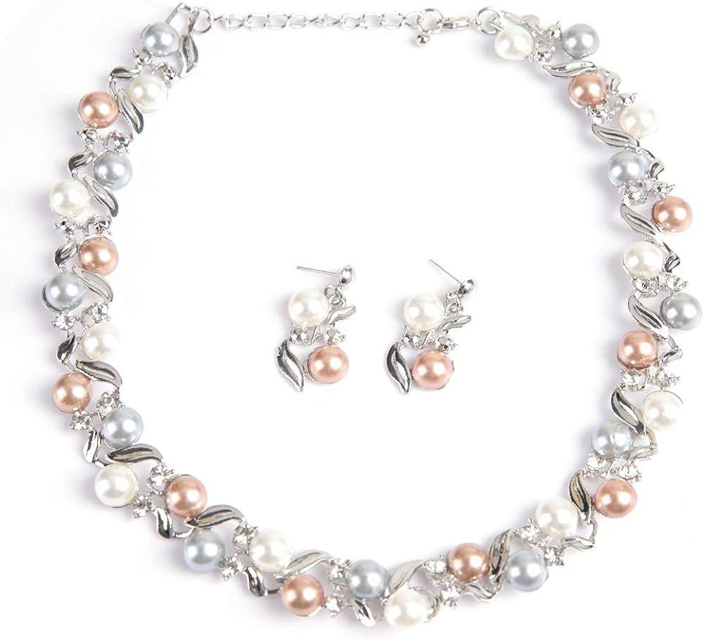TMISHION Collar de Perlas de imitación para Mujer, Conjunto de Pendientes de joyería Nupcial con Regalo de joyería de Diamantes de imitación para Boda/Fiesta para Mujeres.