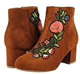 Bamboo Womens Closed Toe Faux Suede Patch Flower Chunky Block Mid Heel Ankle Bootie