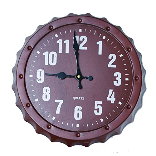 Blue Wall Torch (TORCH 12 Inch Retro Beer Cover Wall Clock Decorative Metal Round Wall Clock for Bar, Red)