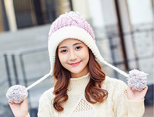 eba5a23e3 HUAMULAN Women Peruvian Fleeced Winter Thick Beanie Hat Ski Ear Flaps Caps  Dual Layered Pompoms,Pink White