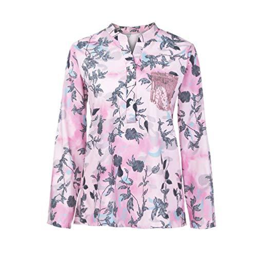 Sunhusing Women's Print Long Sleeve Top V-Neck Button Comfy Chiffon Pullover Shirt