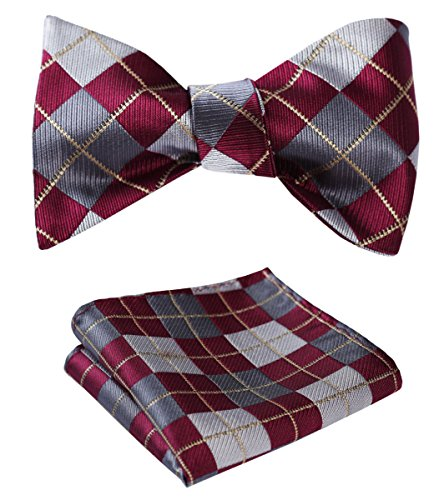 SetSense Men's Plaid Jacquard Woven Self Bow Tie Set One Size Burgundy / Gray / Gold