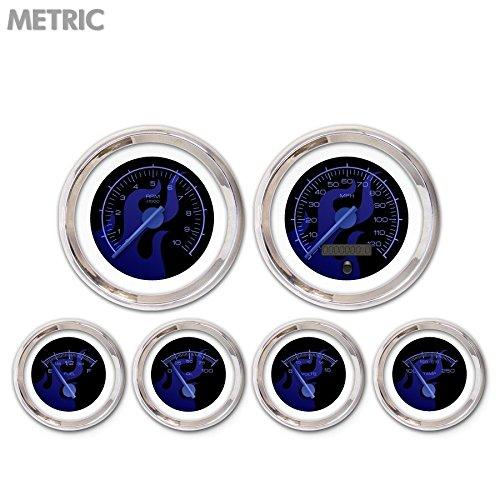Aurora Instruments GAR283ZMXRABCF Ghost Flame Black//Blue 6-Piece Gauge Set