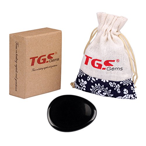 TGS Gems® Black Obsidian Carved Irish Worry Stone Healing Crystal Free Pouch Sold By 1pcs (Irish Stone)