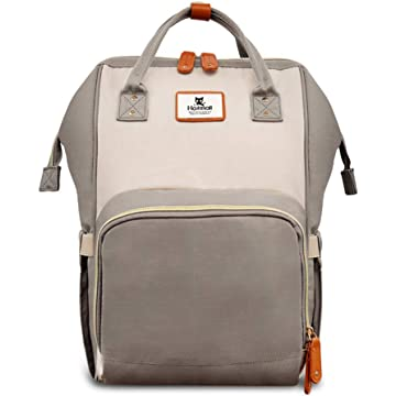 Hafmall Diaper Bag Backpack Waterproof Travel Mummy Nappy Bags, Large Capacity and Multi-Function Back Pack Organizer with Baby Insulated Pockets (Ivory&Grey)