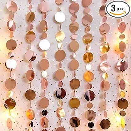 Rose Gold Glitter Decoration- Rose Gold Circle Garland Streamer Rose gold Party Rose gold Backdrop Rose gold Star Streamer Backdrop