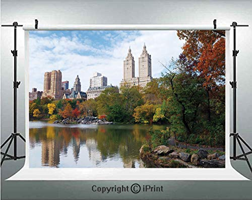 City Photography Backdrops Manhattan Central Park Panorama in Autumn Scenic Lake View Colorful Trees Reflection,Birthday Party Background Customized Microfiber Photo Studio Props,8x8ft,Multicolor]()
