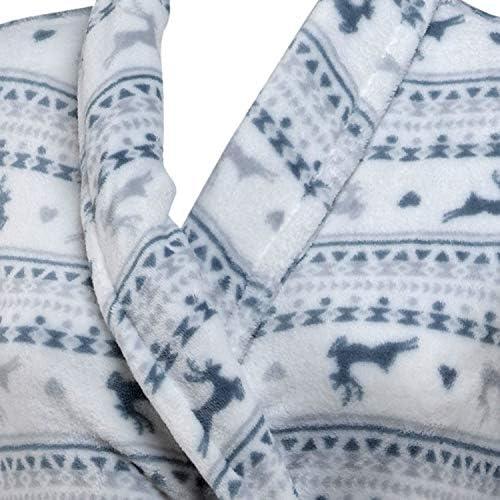 Ladies Soft Fleece Fair Isle /& Reindeer Dressing Gown Shawl Collar Cosy Bathrobe