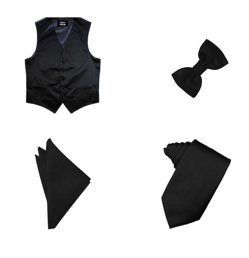 Oliver George 4pc Solid Vest Set-Black-XL