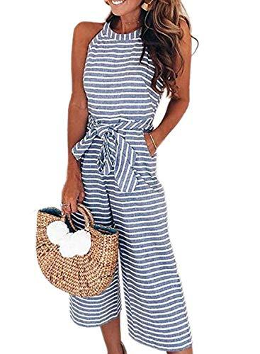 Happy Sailed Women's Striped Sleeveless Waist Belted Zipper Back Wide Leg Long Jumpsuit Romper with Pockets Medium Blue