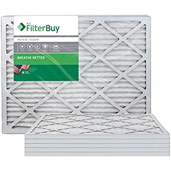 FilterBuy 20x30x1 MERV 8 Pleated AC Furnace Air Filter, (Pack of 6 Filters), 20x30x1 - Silver