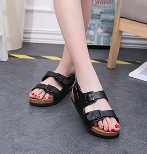 Sandales Chaussures Sangle Chaussures Femmes Boucle ZKOO Semelle Roman Peep avec Toe Noir Liège de Tongs Sandales Plage ngqOqYBw1W