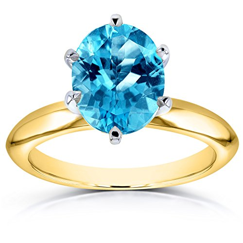 Oval Cut Swiss Blue Topaz Solitaire 6-prong Ring 2 Carats 14k Yellow Gold, 7