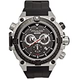 Mulco Buzo Dive Quartz Swiss Chronograph Movement Men's Watch | Premium Analog Display with Steel Accent | Steel Watch Band | Water Resistant Stainless Steel Watch (Black/Steel)